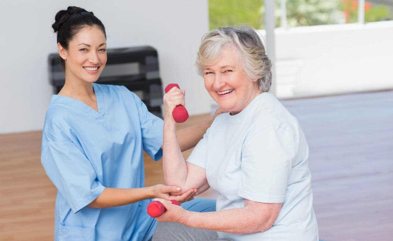 woman assist senior