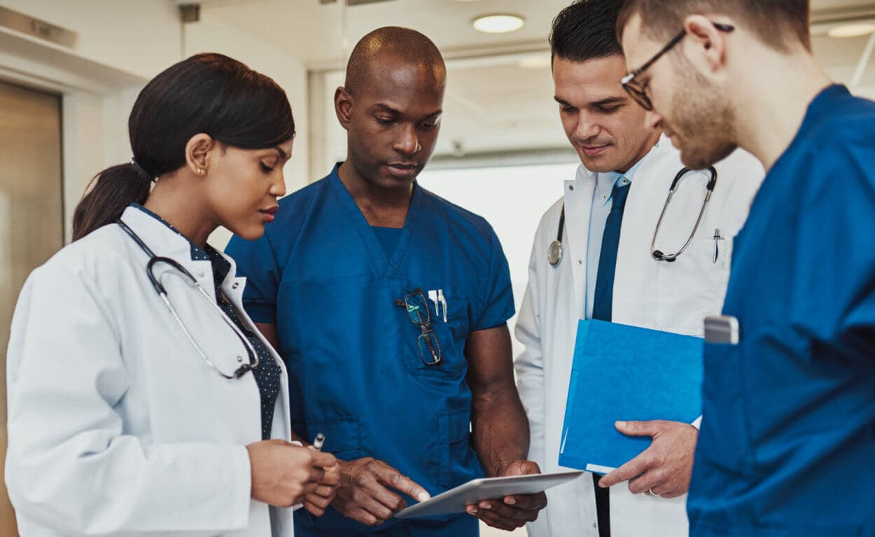 healthcare staffs talking