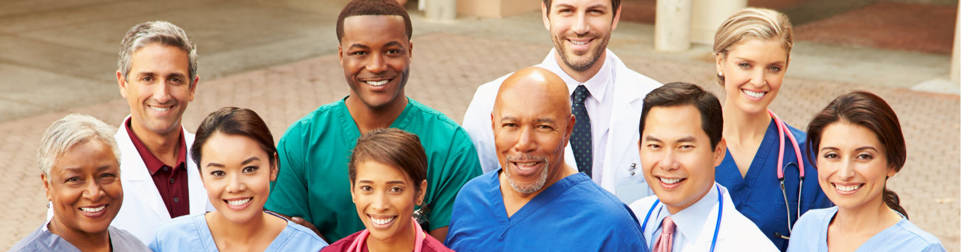 health care staff smiling